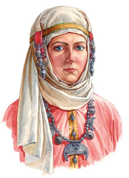 Русская женщина в уборе с гроздевидными наушницами