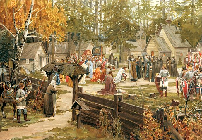 Сергий Радонежский благословляет Дмитрия Донского на битву с Мамаем